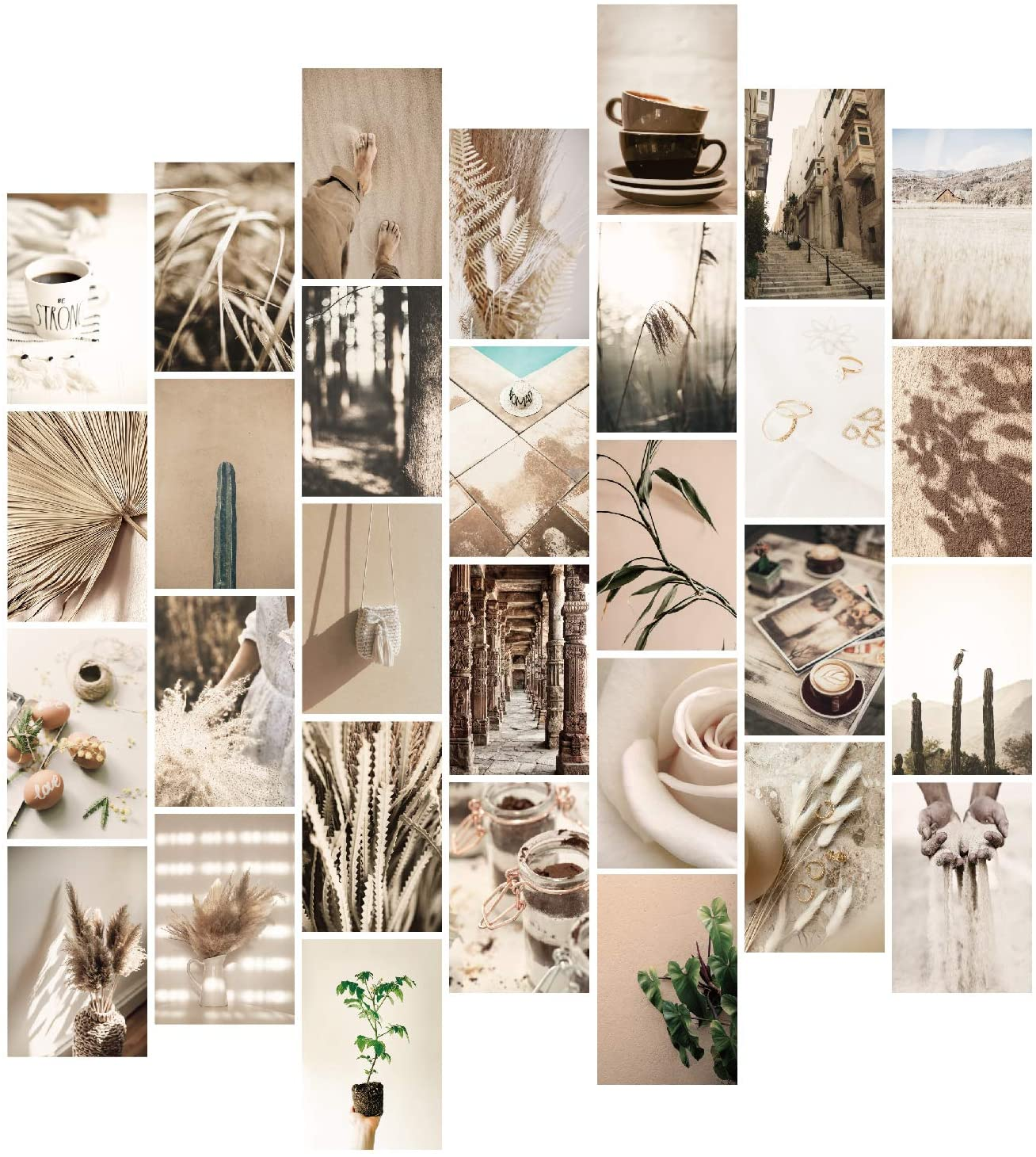 YUMKNOW Aesthetic Wall Collage Kit - 4x6 inch Set of 30, Boho Room Decor for Bedroom Aesthetic, Modern Minimalist Wall Art Photo Pictures, Neutral Beige Cottagecore Kawaii Posters for Dorm Apartment
