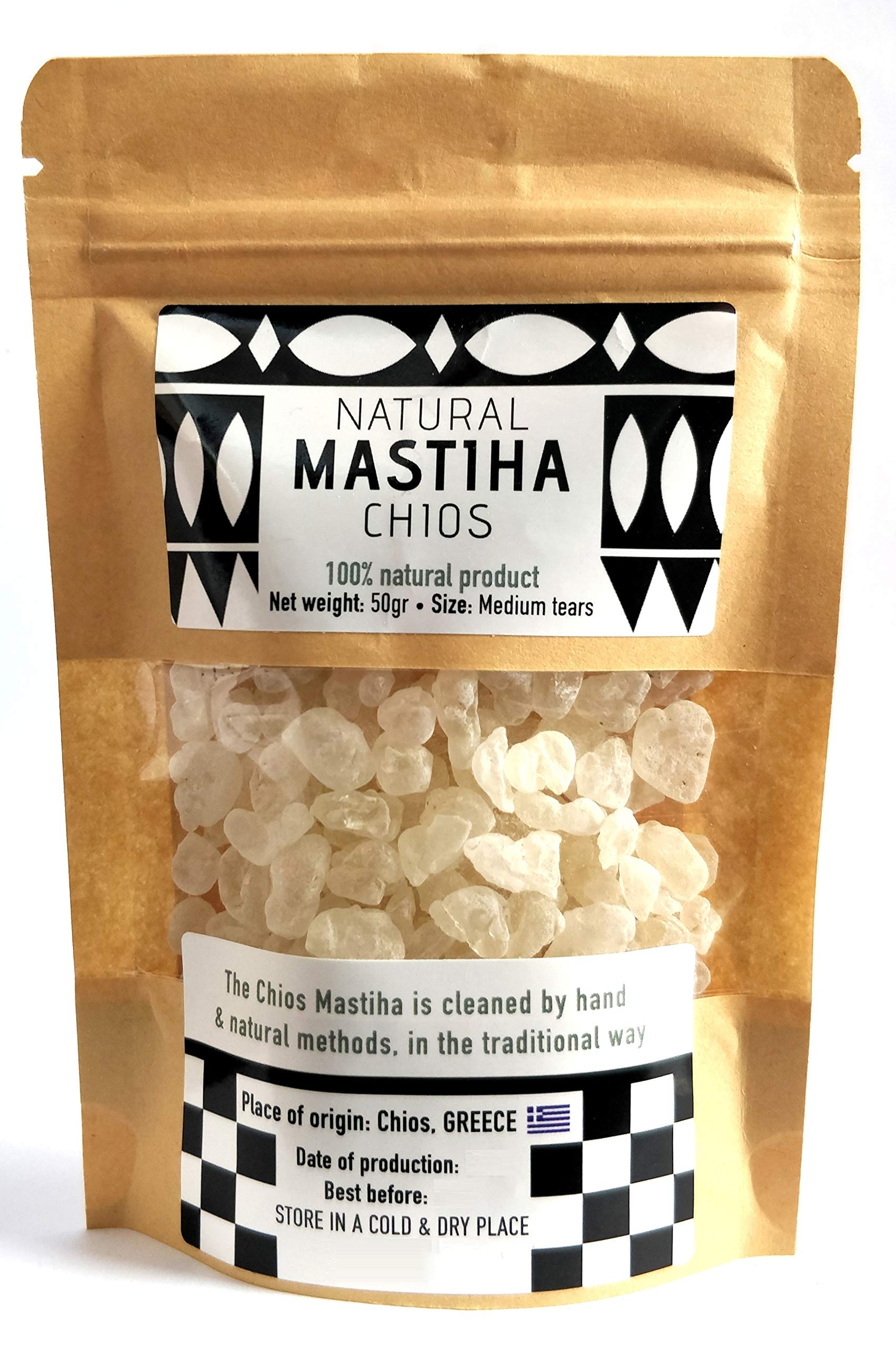 Chios Mastiha Tears Gum Greek 100% Natural Mastic Packs From Mastic Growers (50gr Medium Tears)