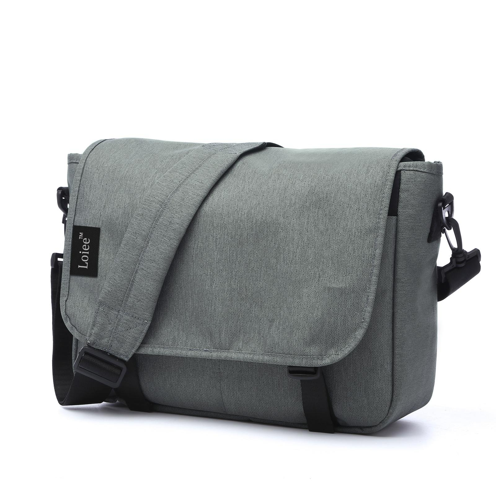 Loiee 14 inches Classic Canvas Messenger Bag,Water Resistant Vintage School Bag,Grey
