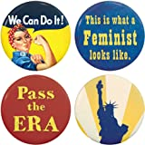 """Buttonsmith Retro Feminist 1.25"""" Refrigerator Magnet Set includes Rosie the Riveter, """"Pass the ERA"""", """"This is what a Feminist looks like"""", and Lady Liberty - Made in the USA"""