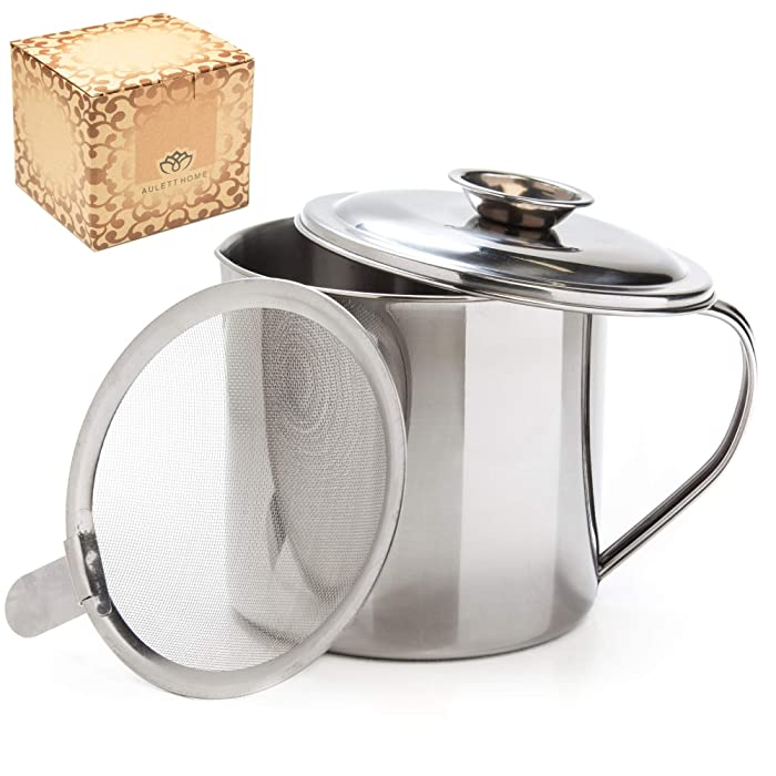 Aulett Home Bacon Grease Container With Strainer - Best For Storing Grease, Cooking Oil and Drippings To Add Flavor Later - 1.25 Quart Or 5 Cups Stainless Steel Grease Keeper