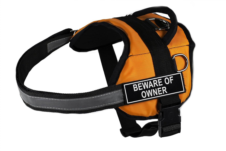 Dean & Tyler DT Works Fun Imbracatura Beware of Owner Pet Harness, Piccolo, per Taglia Circonferenza 63,5 cm a 86,4 cm, Arancione Nero
