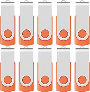 Enfain 32GB USB 2.0 Flash Drive 10 Pack Thumb Drives Bulk Memory Stick Swivel Jump Drives, with 12 Labels (32 GB 10 Pack, Orange)