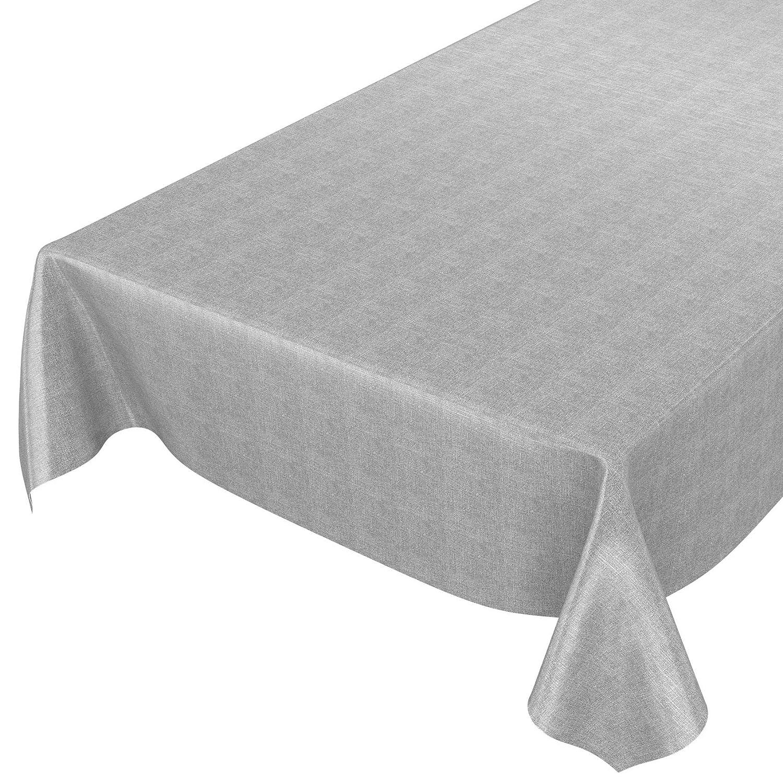 Tovaglia in tela cerata lavabile, effetto lino., asciugamani, grigio scuro, 400 x 140cm ANRO