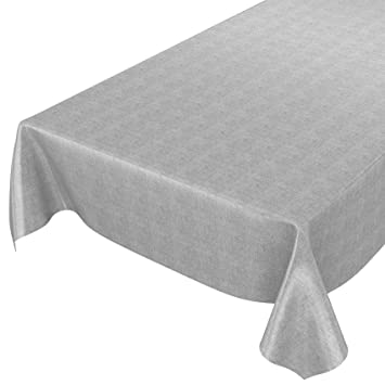 Mantel Anro, para mesa, con aspecto de lino, lavable, toalla pvc, gris, 160 x 140cm: Amazon.es: Hogar