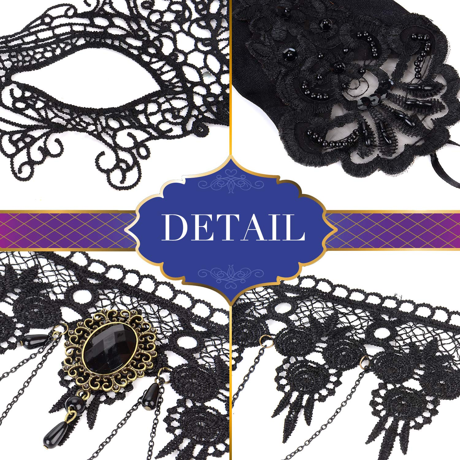 Aniwon Punk Style Halloween Party Black Lace Choker Necklace Fingerless Satin Embroidered Gloves Lace Masquerade Mask Set for Women for Wedding Evening Vampire Costume steampunk Accessories