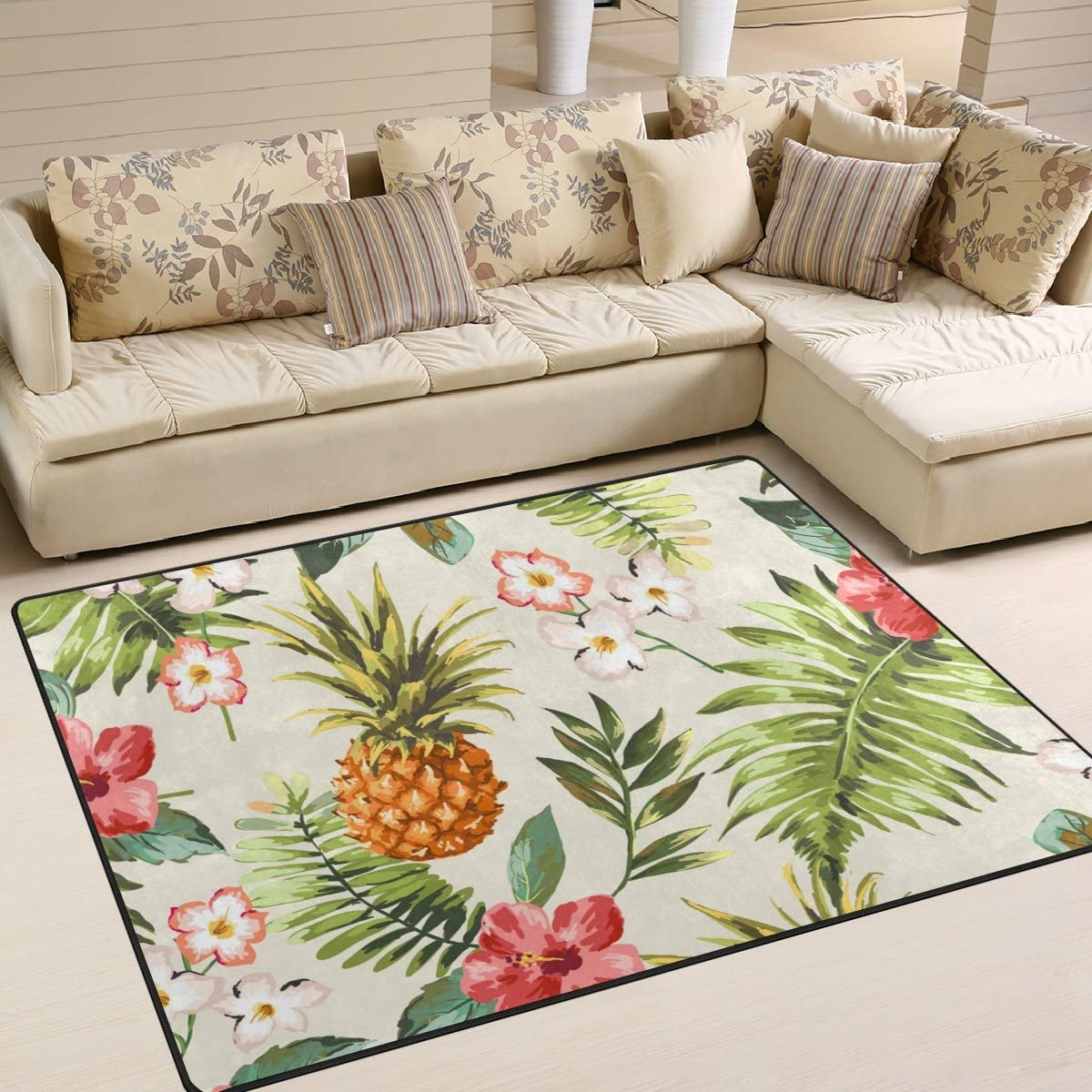 LORVIES Vintage Tropical Flowers with Pineapple Area Rug Carpet Non-Slip Floor Mat Doormats for Living Room Bedroom 80 x 58 inches