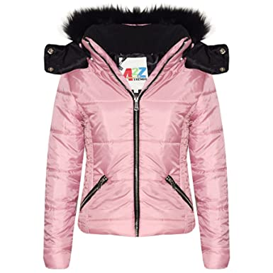 8f2f8927b Amazon.com  Kids Girls Jackets Pink Cropped Padded Puffer Bubble Fur ...