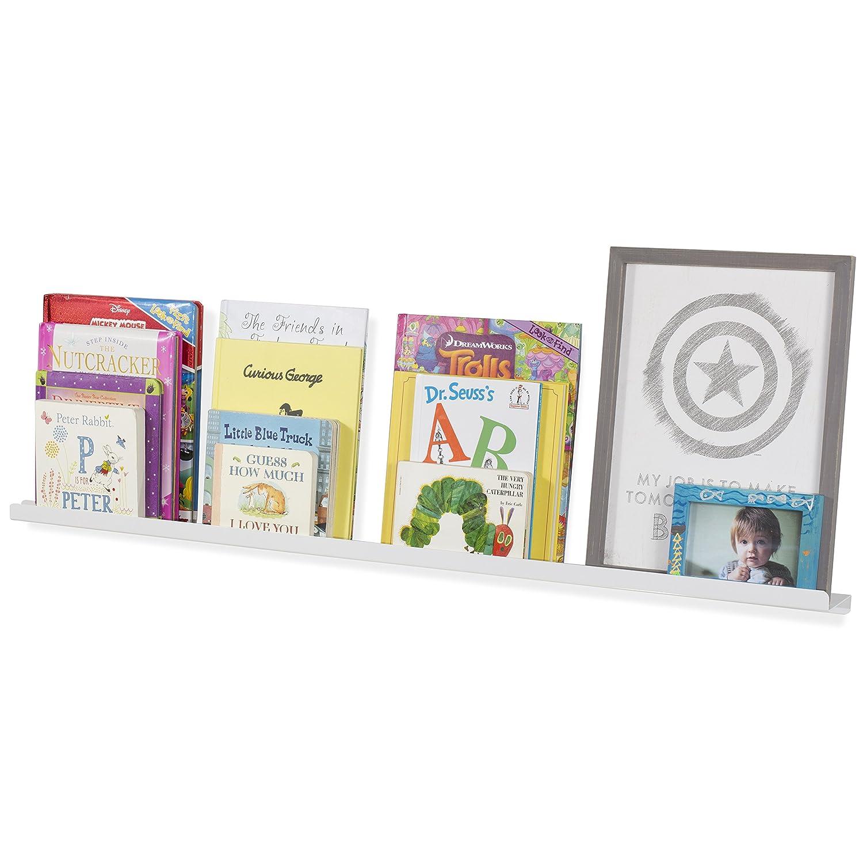Wallniture - Wall Mount Aluminium Floating Shelf for Baby Nursery Decor - Kids Metal Book Photo Display Ledge Bookshelf White 46 Inch SYNCHKG103210