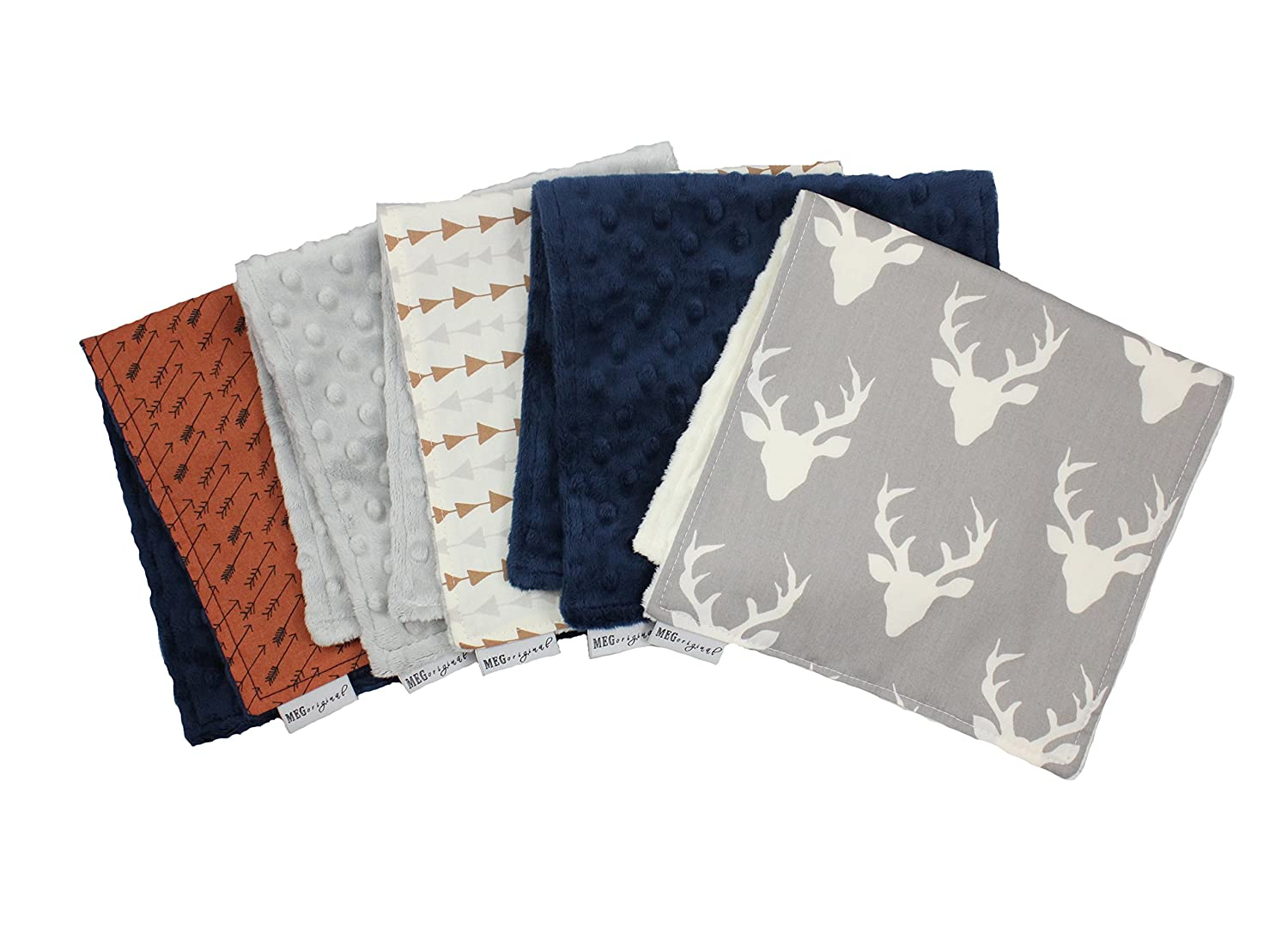 MEG Original 174 Deer /& Arrows Archer Baby Boy Burp Cloth Set of 5