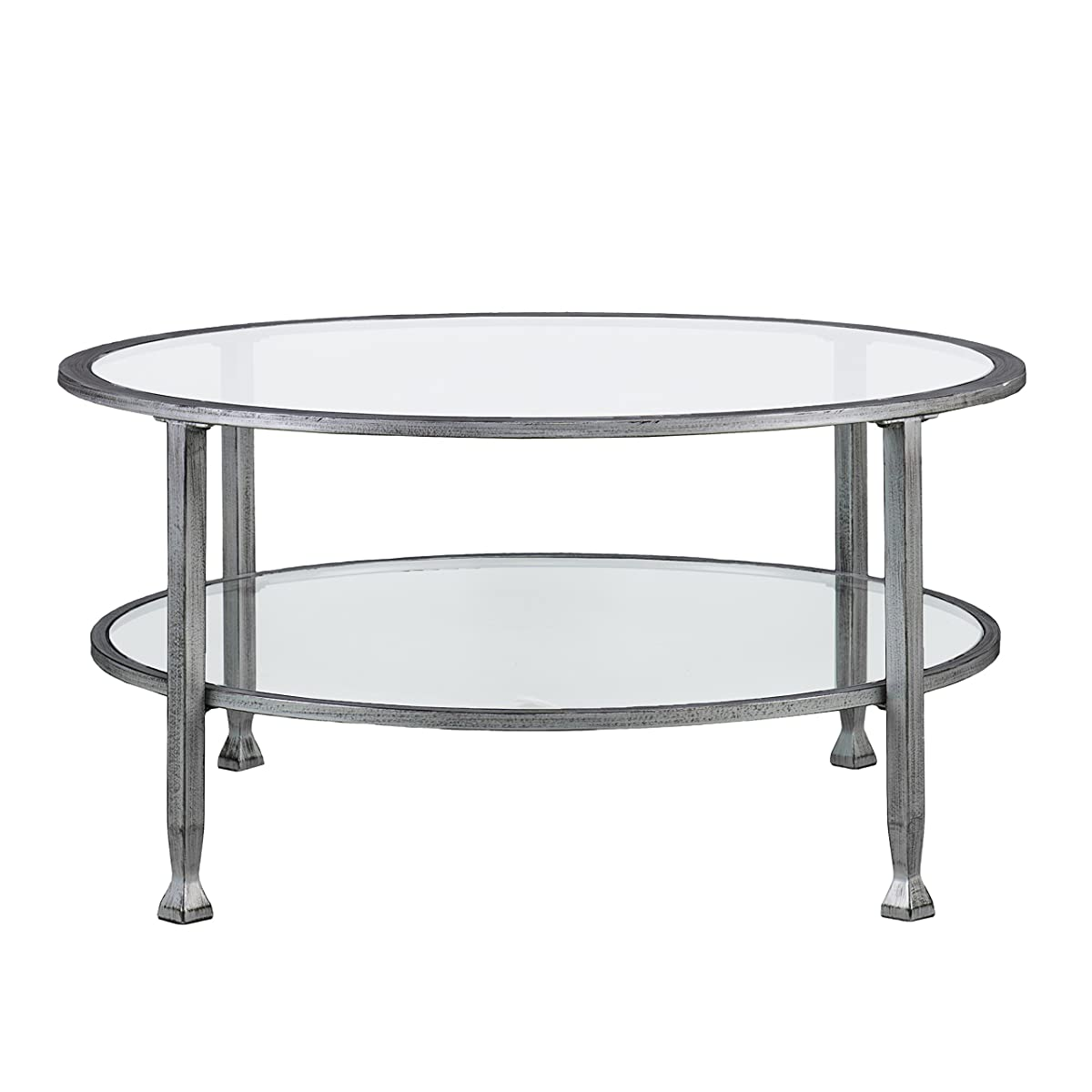 Jaymi Metal and Glass Round Cocktail Table, Silver