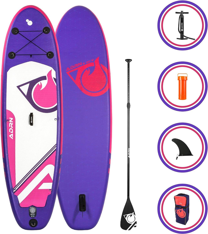 ADRN Tabla Hinchable de Paddle Surf Carver 9 (274 x 76 x 12,7 cm) - Incluye cámara d Montaje de acción, Remo telescópico, Bomba, Aleta Central extraíbles, Mochila de Transporte -