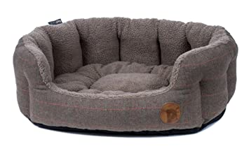 Petface Tweed Oval Dog Bed, X-Large, Brown