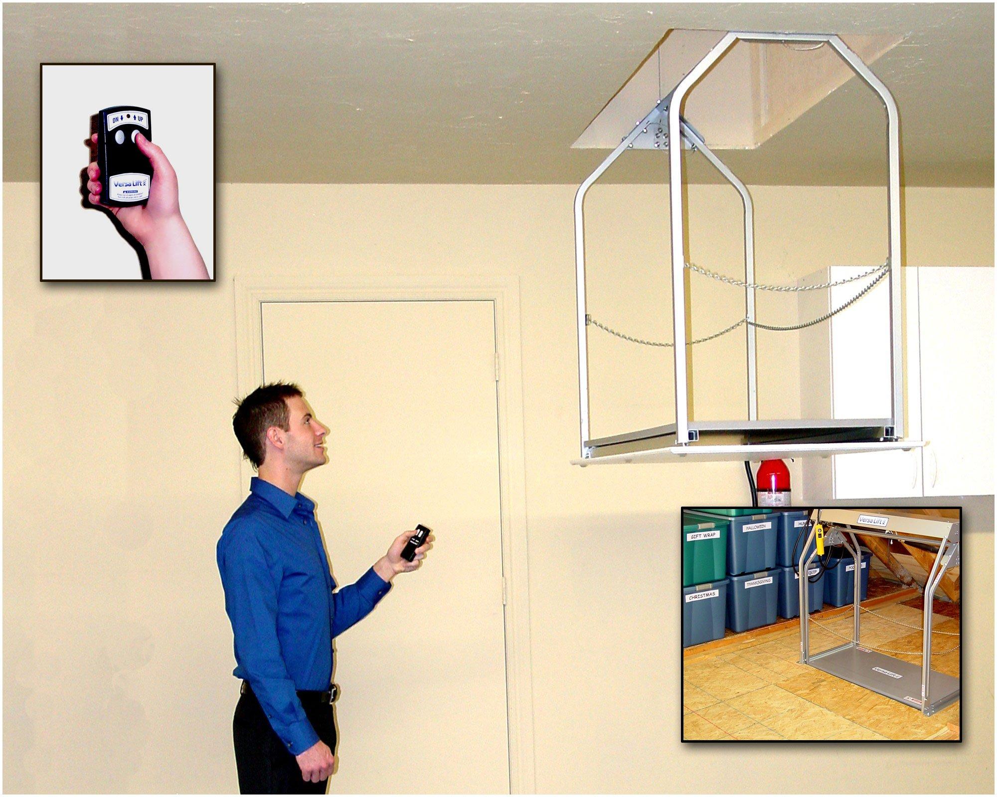 Versalift Attic Lift Model 24 WHX 14'-17' With Versa Lift Wireless Controller Attic Floor to Garage Floor Height. Versalift Load Capacity 200 Lbs.