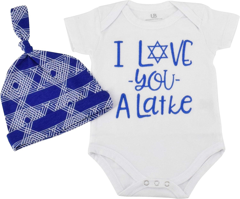 Unique Baby Girls I Love You Latke Hanukkah Layette Outfit Headband