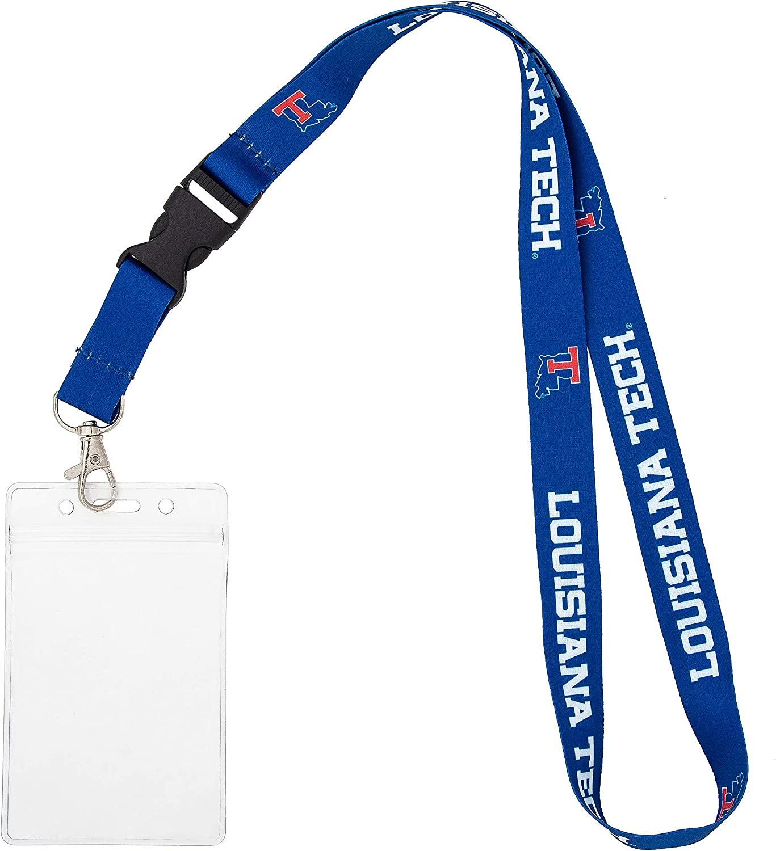 Louisiana Tech University Bulldogs NCAA Car Keys College ID Badge Holder Lanyard Keychain Detachable Breakaway Snap Buckle w//Pouch