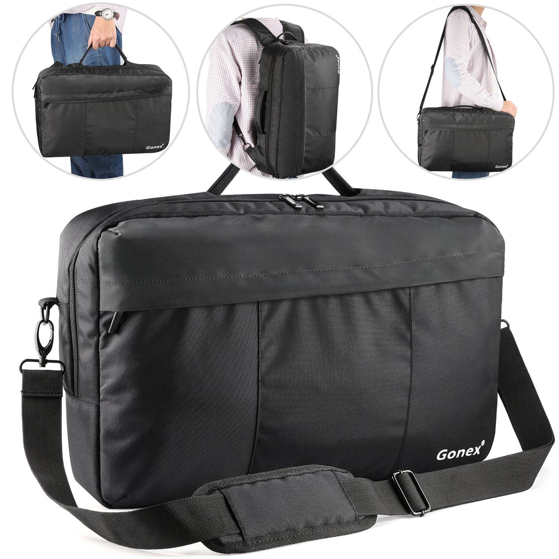Laptop Briefcase Backpack, Gonex Unisex Convertible 15.6 Inch 3-Way Tablet Shoulder Bag for Business Work Travel Black