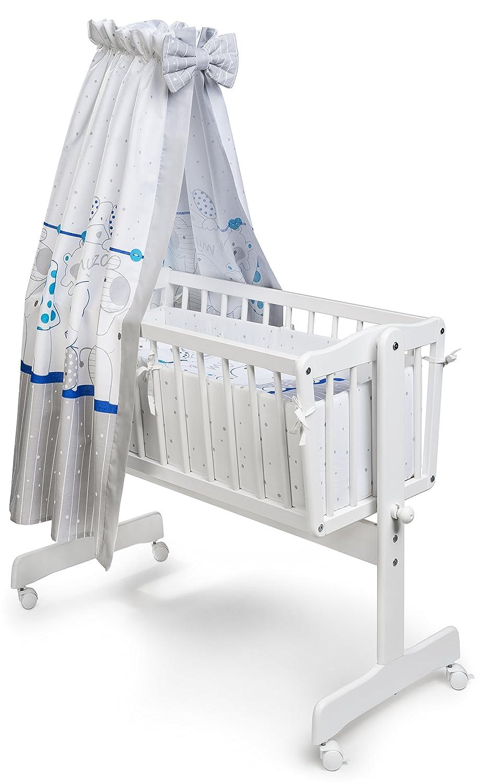 KOKO 4-teilige textile Ausstattung geeignet f/ür Pendelwiege Mein Zoo blau Design