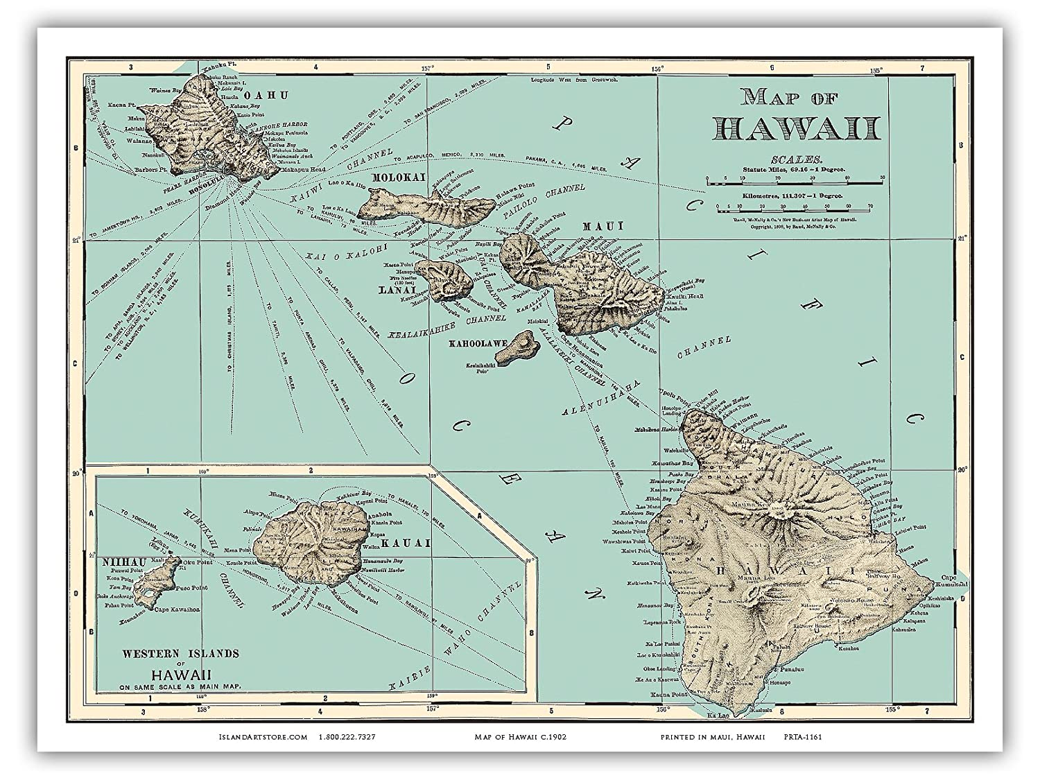 Amazon Com Pacifica Island Art Map Of Hawaii Rand Mcnally Atlas