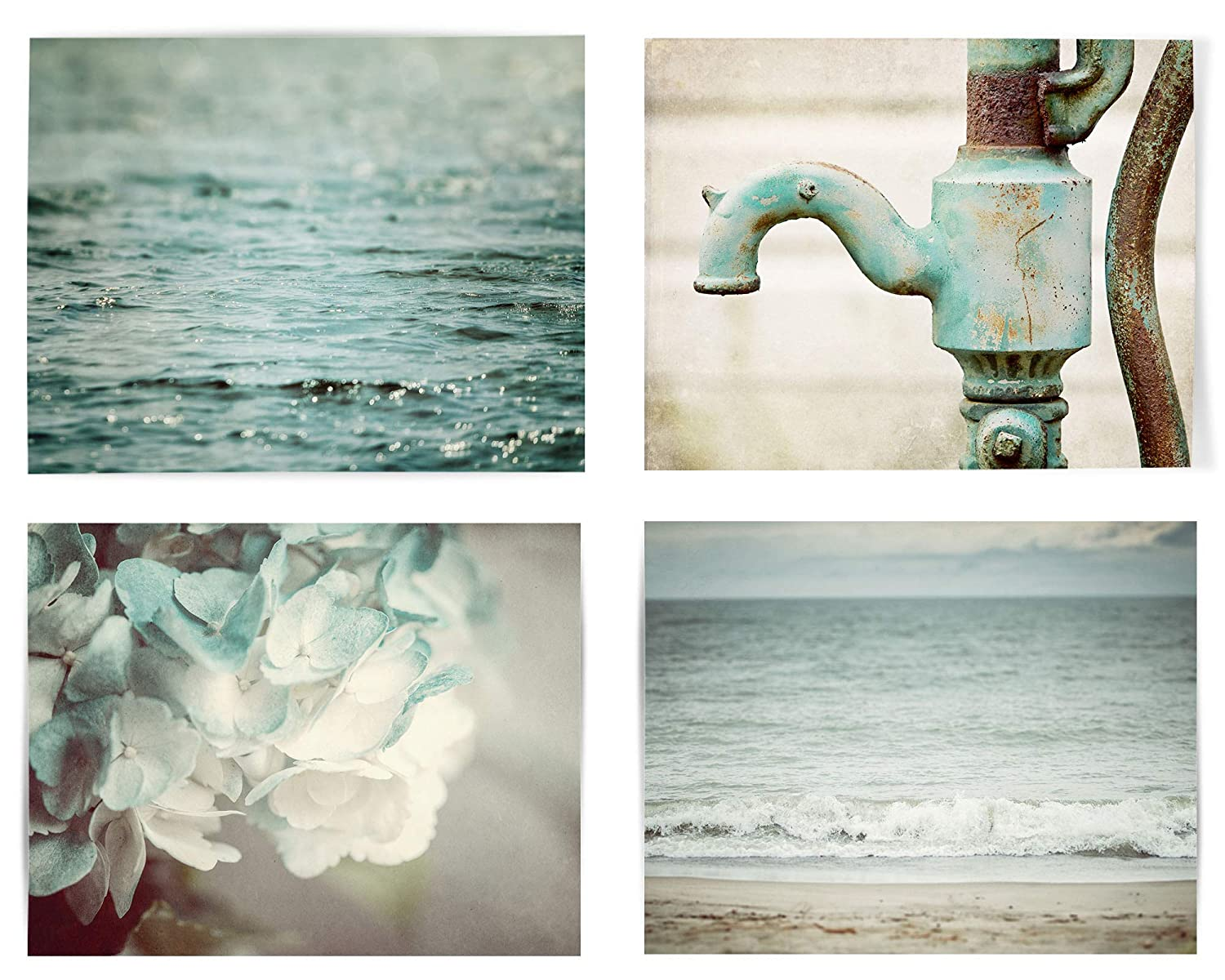 Shabby Chic Aqua, Blue, Teal Bathroom Wall Art Decor Set of 4 Photo Prints (Not Framed). Rustic Farmhouse Beach and Floral Pictures. (4 5x7 Prints Only)