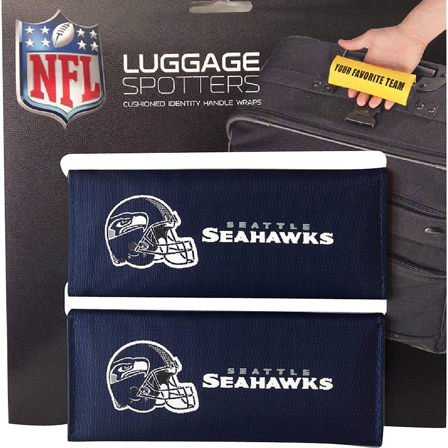 BUY ONE GET ONE FREE! SEAHAWKS Luggage Spotter Suitcase Handle Wrap Bag Tag Locator with I.D. Pocket (4-pk) - CLOSEOUT! SELLING FAST! Matrix Source SEAHAWKBL