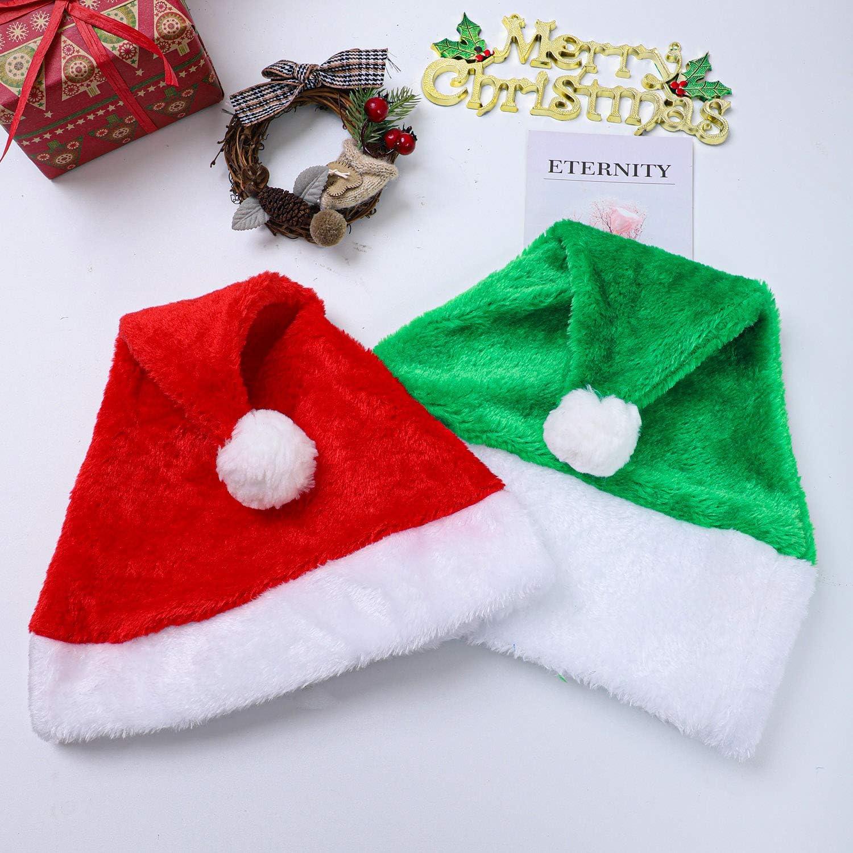 gorro de Pap/á Noel para Navidad fiestas Aneco paquete de 6 gorros de Pap/á Noel de felpa con pu/ños blancos festivos
