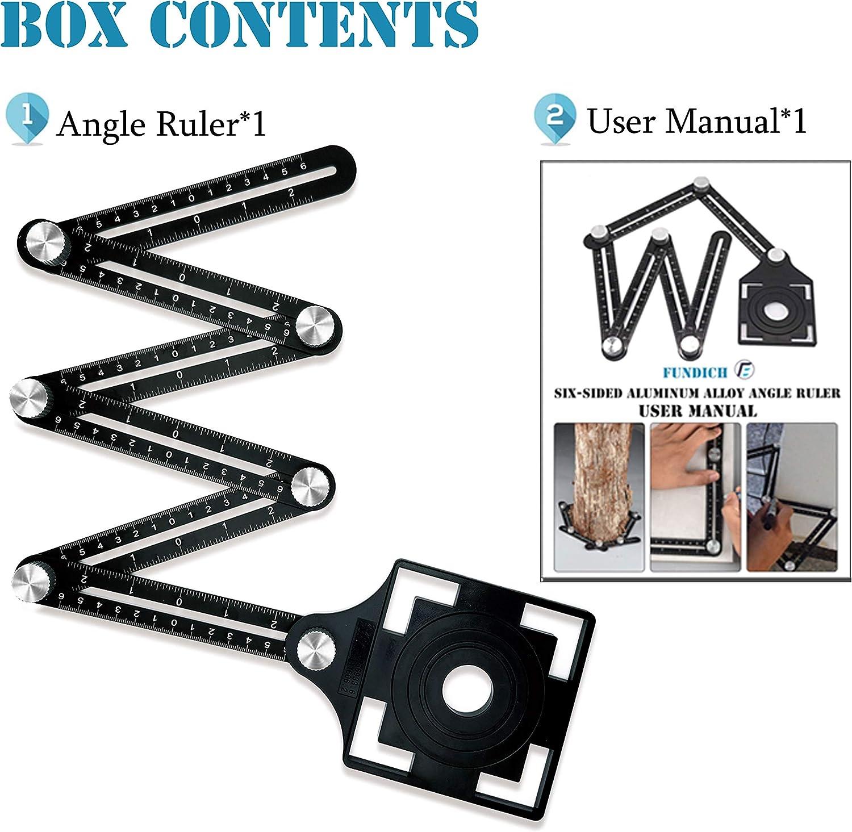 2Pcs Multi Angle Measuring Ruler,6-Sided Angle Measurement Tool,Aluminum Alloy Angle Measuring Ruler,Universal Opening Locator Measurement Tool