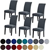 Howhic Stretch Chair Covers for Dining Room Set of 6, Removable Washable Dining Room Chair Covers, Dining Chair Slipcovers Se