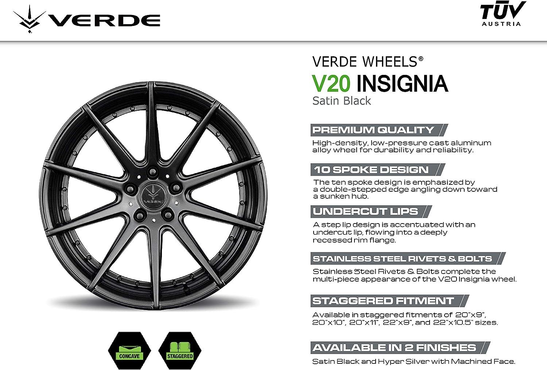 Verde Custom Wheels Insignia Satin Black Wheel 20 x 9. inches //5 x 112 mm, 20 mm Offset