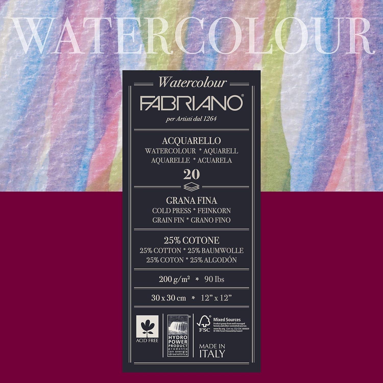 Unbekannt Fabriano - Papel para Acuarela, algodón, Blanco, 30 x 30 ...