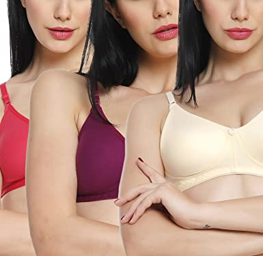 aadaa49cd4fc Innocence Coral,Skin,Wine Cotton Non-Wired Non Padded Bra: Amazon.in:  Clothing & Accessories