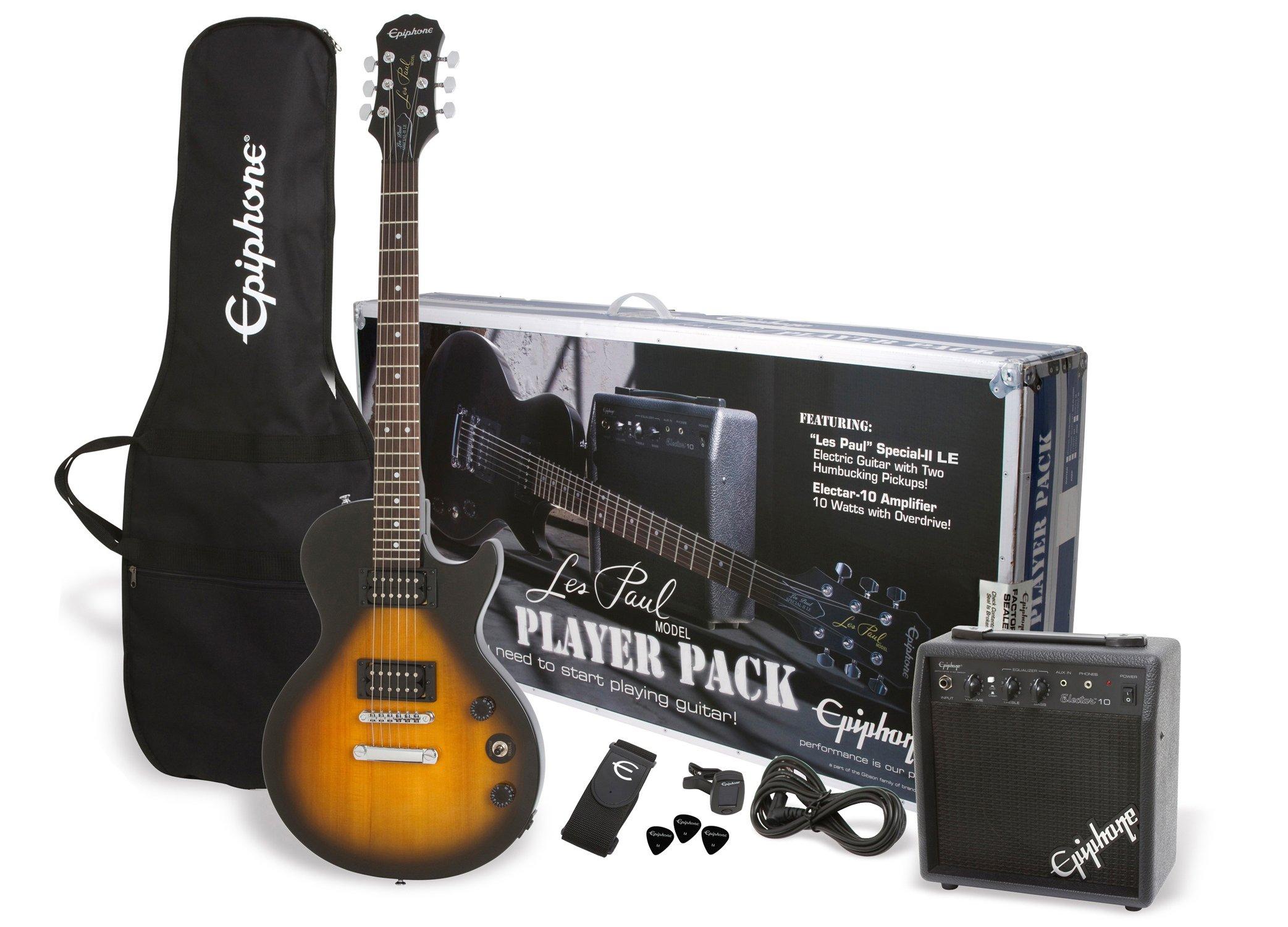 Epiphone PPEG-EGL1VSCH1 Les Paul Electric Guitar Player Package, Vintage Sunburst by Epiphone