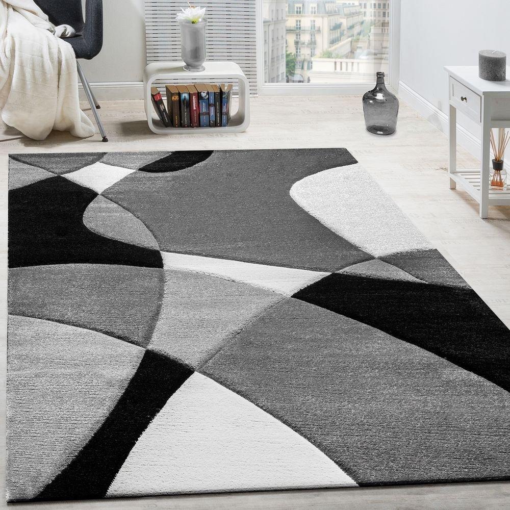Paco Home Designer Teppich Modern Geometrische Muster Konturenschnitt In Schwarz Weiß, Grösse 200x290 cm