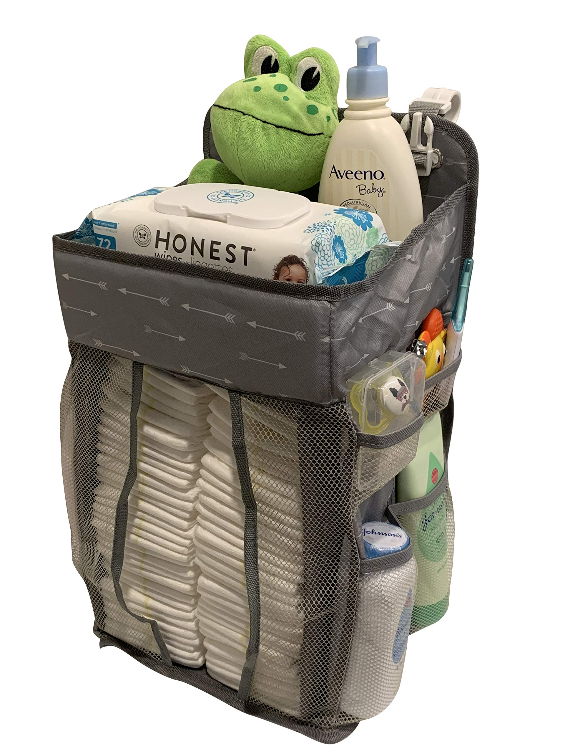 Hanging Nursery Organizer and Baby Diaper Caddy | Hanging Diaper Organization Storage for Baby Essentials | Hang on Crib, Changing Table or Wall by Piczel