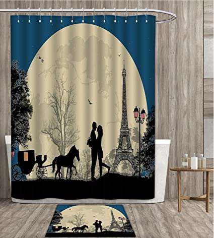 Sunsunshine Romantic Shower Curtain 3D Digital Printing Lovers In The Paris Romance Capital Of World Valentines