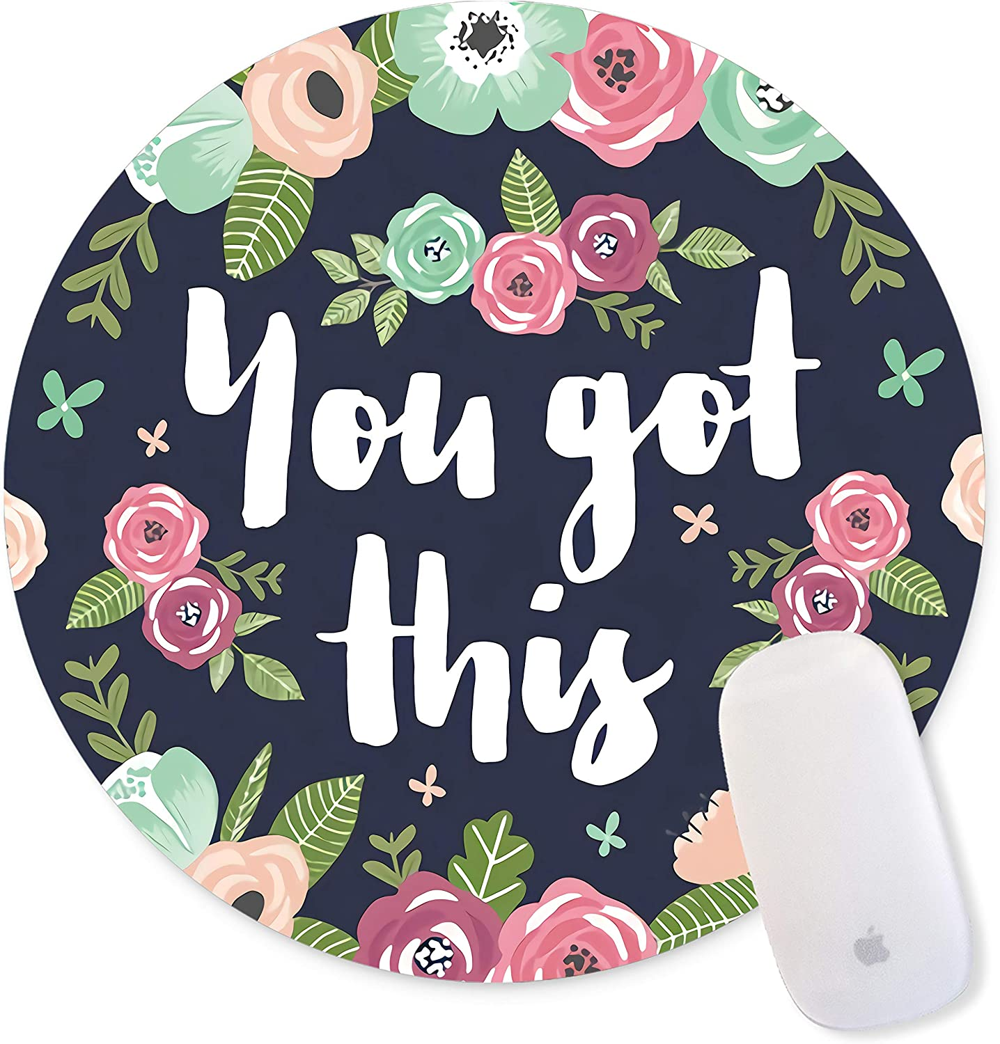 Floral Mouse Pad Motiavation Quote You Got This Neoprene Inspirational Quote Mousepad Office Space Decor Home Office Computer Accessories Mousepads