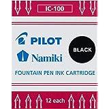PILOT Namiki IC100 Fountain Pen Ink Cartridges, Black, 12-Pack (69100)