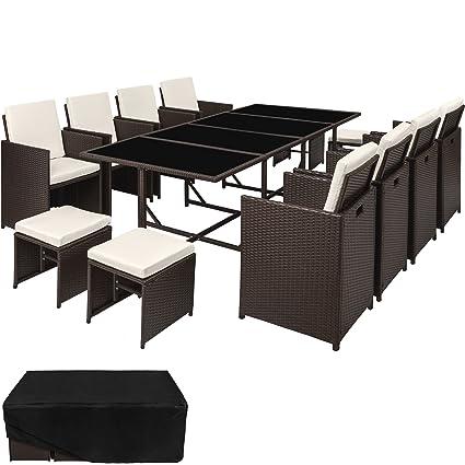 TecTake Ensemble Salon de jardin en Résine Tressée Poly Rotin Table Set  8+1+4 + Housse de Protection | Vis en Acier Inoxydable | diverses couleurs  au ...