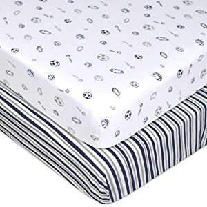 American Baby Company 2 Pack Printed 100% Natural Cotton Jersey Knit Fitted Pack N Play Playard Sheet, Navy/Grey Sports Stripes, Soft Breathable, for Boys