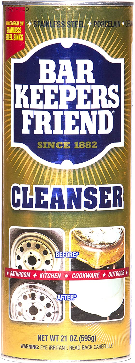 Bar Keepers Friend Powder Cleanser 21 oz - Multipurpose Cleaner & Stain Remover - Bathroom, Kitchen & Outdoor Use - for Stainless Steel, Aluminum, Brass, Ceramic, Porcelain, Bronze and More (1)