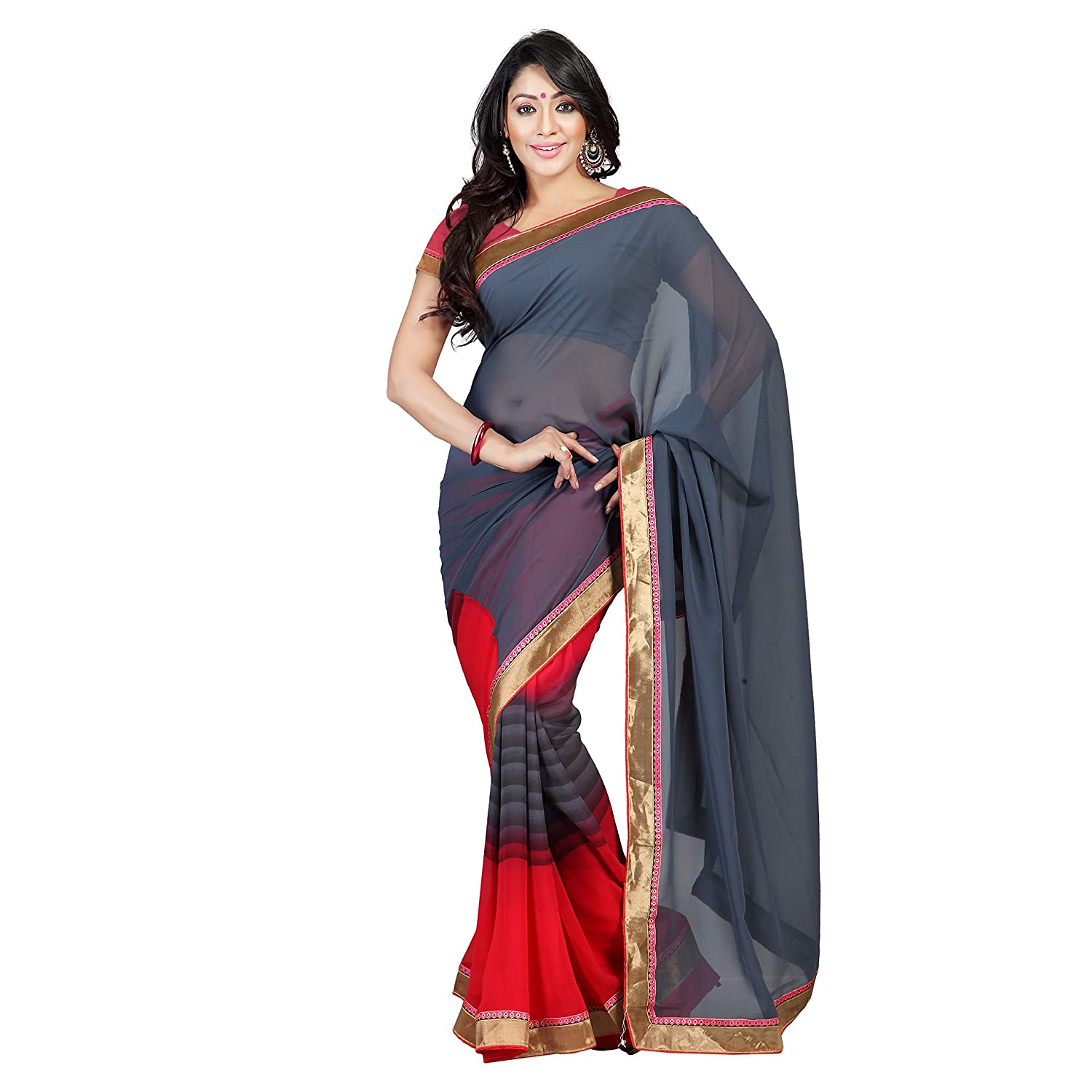 Florence Women's grey Georgette embroidered Printed Saree