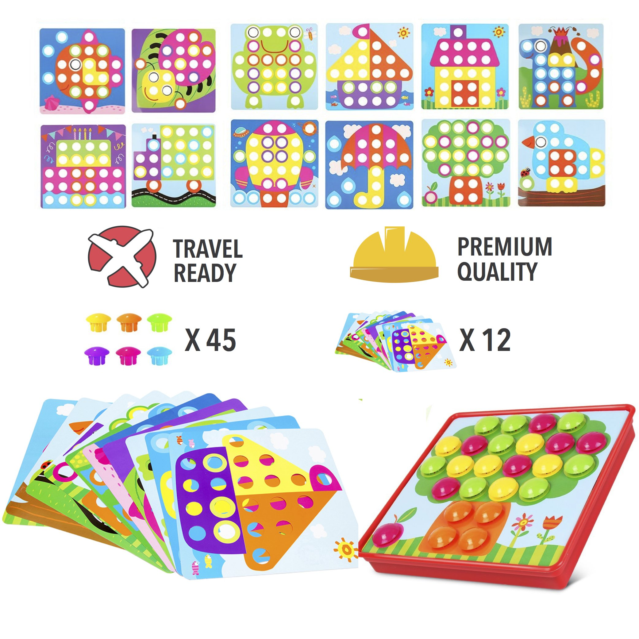 PinSpace Button Art Color Mushrooms Nails Matching Mosaic Pegboard Puzzle Games with 12 Templates, Fine Motor Skills Game,Best gift for Boys and Girls