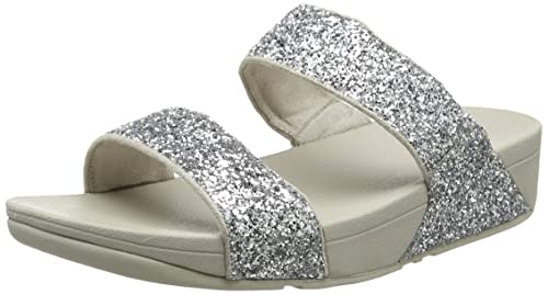e6dfd80ff4bd75 Fit Flop Women s Glitterball Slide Silver Leather Fashion Sandals - 5  UK India (38