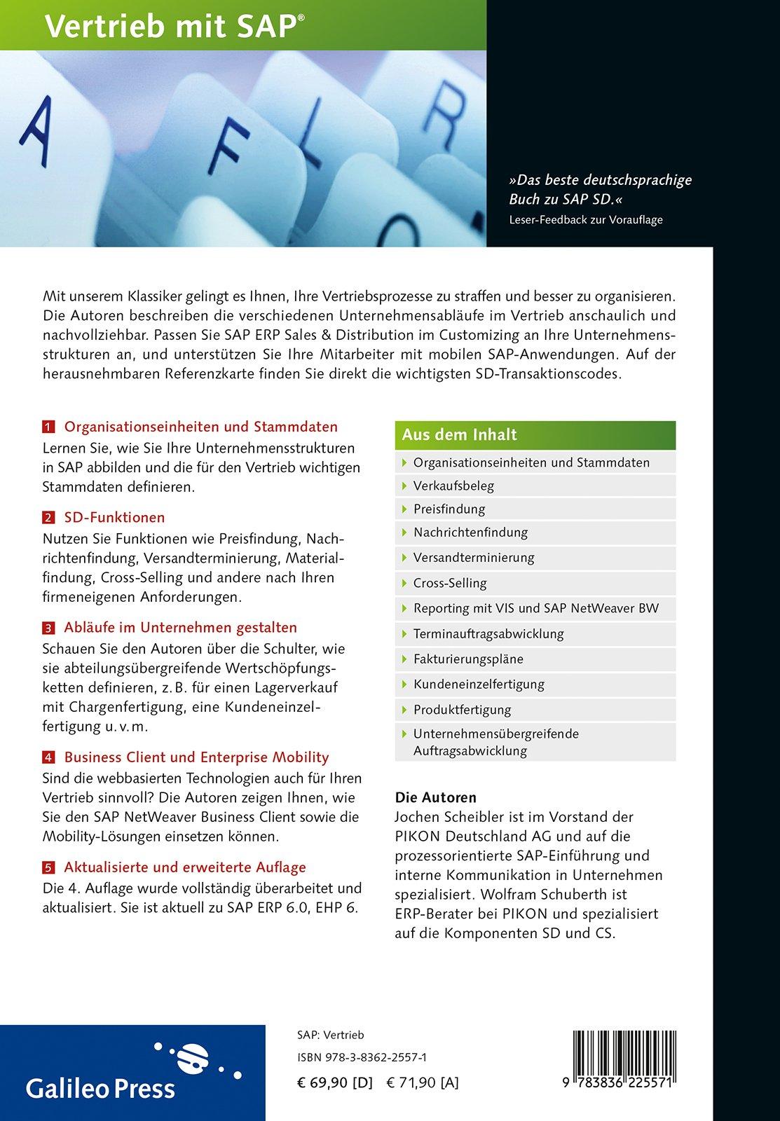 Praxishandbuch Vertrieb mit SAP: So setzen Sie SAP SD erfolgreich ein: Ihr  Wegbegleiter für den effizienten Einsatz von SD SAP PRESS: Amazon.de:  Jochen ...