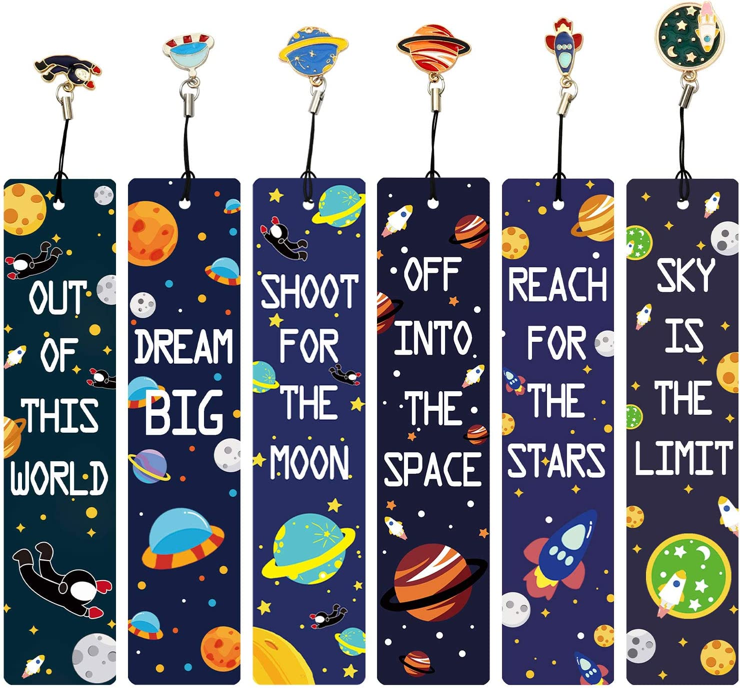 Inspirational Quotes Bookmarker for Men and Women Gifts for Kids Boys Girls Adults 12 Pcs Space Theme Bookmarks with Metal Charms Excellent Party Favors School Classroom Prize Reading Rewards