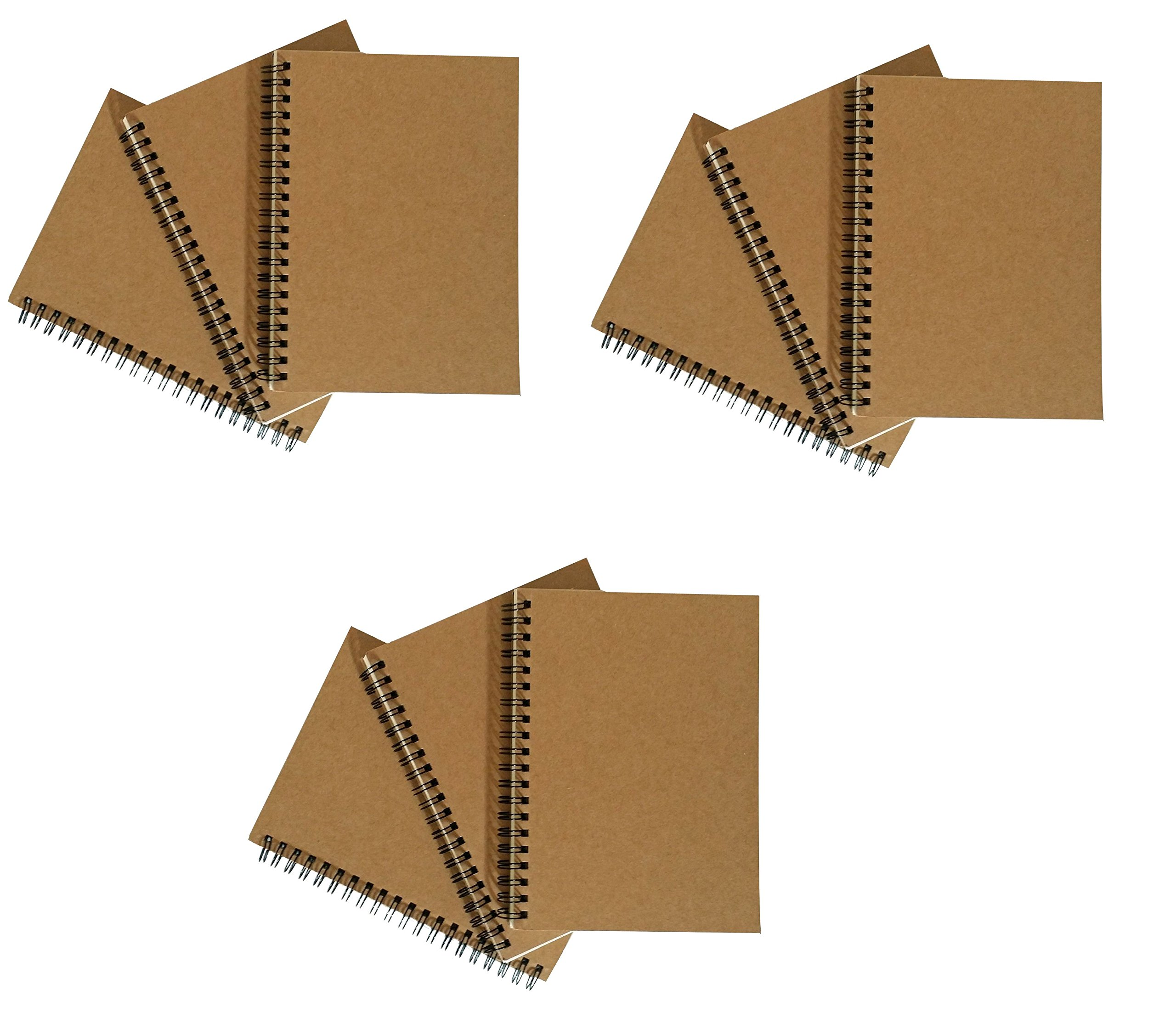 Notepads with Kraft Paper Covers - Bulk Buys (9 Notebooks, 5 x 7 No Pocket)