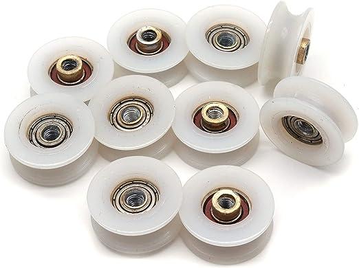 LDEXIN - 10 ruedas de rodamiento de polea de nailon redondas de 22 mm de diámetro, para puerta corredera, ventana, rueda de rodamiento: Amazon.es: Bricolaje y herramientas