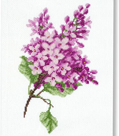 Card and Envelope supplied. Kit Lilac Blue Fan Card complete Counted Cross Stitch on 14 count Aida to work with Anchor stranded cottons