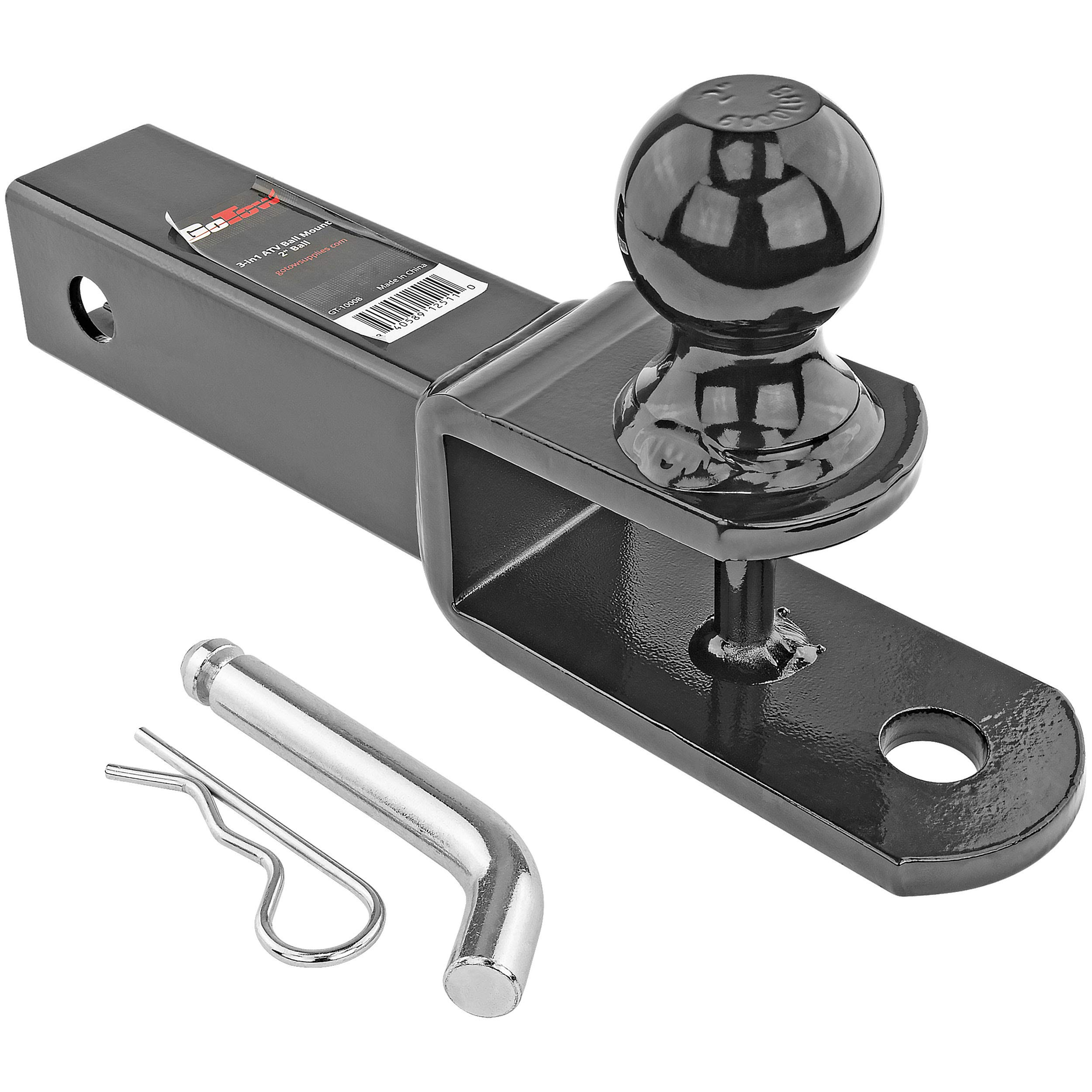 GoTow GT-10008 ATV UTV 3 In 1 Ball Mount Hitch W/ Hitch Pin Fits 2-inch Receiver Class III 6000lb 2-inch Ball by GoTow