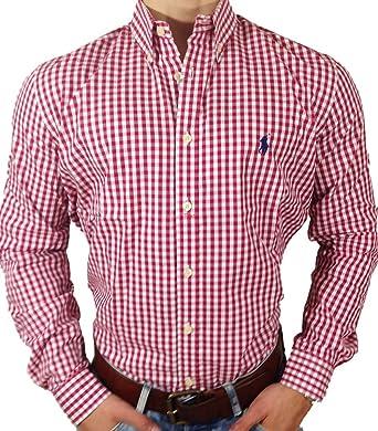 Polo Ralph Lauren - Chemise manches longues - Carreaux rouge et blanc -  Logo  quot  fd6e4261cba1